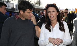 Jacinda Ardern and her partner Clarke Gayford on one of her last public appearances before going into hospital.