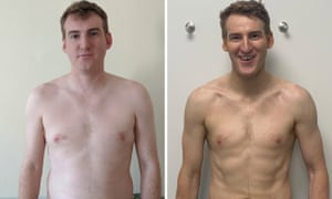 Before and after: 'With seven weeks to play with, I was never going to end up a bodybuilder, but I'd attained a leanness I hadn't considered possible.'