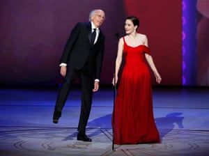 Presenters Larry David and Rachel Brosnahan for Outstanding Lead Actor in a Limited series or Movie.