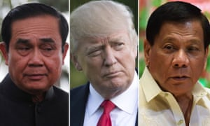 Thailand's prime minister, Prayuth Chan-ocha, left, and the president of the Philippines, Rodrigo Duterte, right, have been invited to the White House by Donald Trump.