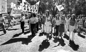 Germaine Greer, centre, at the Women's Liberation March in Sydney, 11 March 1972.