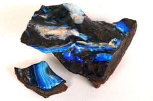 Opal stones … 'These gorgeous rocks set this exhibition alight with their strong colours and brilliant crystal facets'