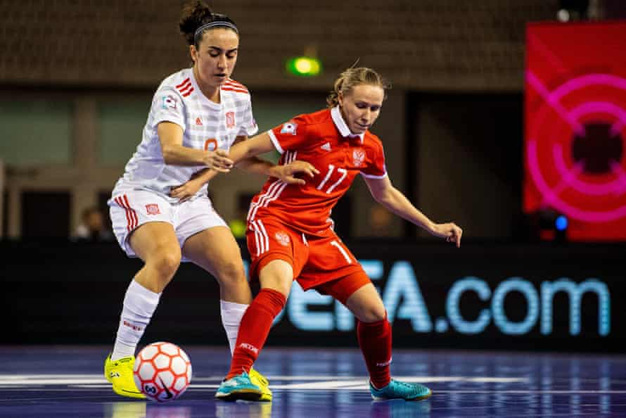 Spain's Vanessa Sotelo and Russia's Dina Danilova in action during the women's Euros in 2019