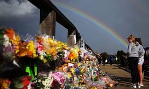 Shoreham Airshow crashA rainbow over floral tributes at Shoreham in West Sussex, after the Shoreham air disaster in 2015.