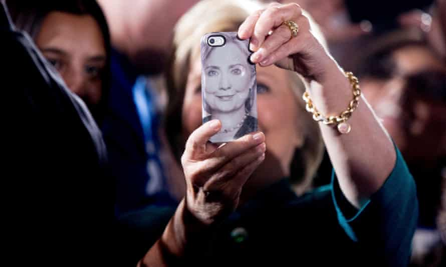 Hillary Clinton takes a selfie for a supporter after a rally in Las Vegas.