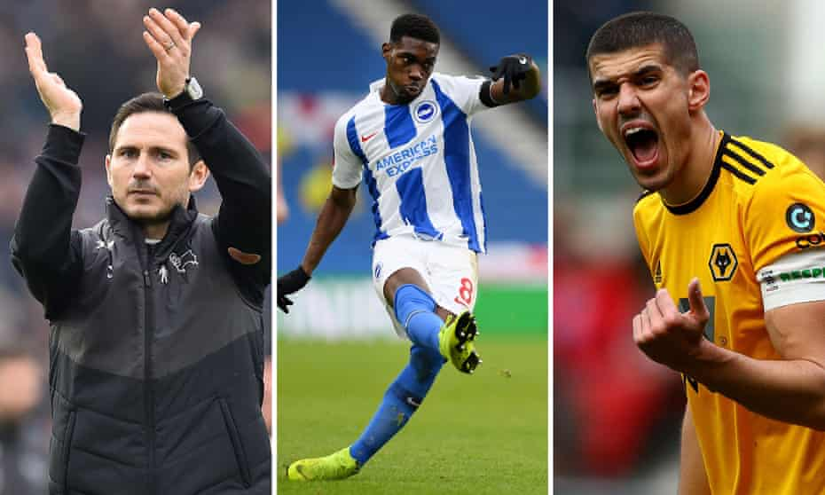 From left: Derby manager Frank Lampard, Brighton's Yves Bissouma and Conor Coady of Wolves.