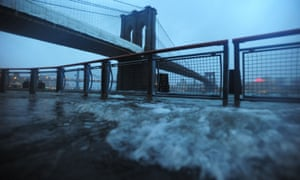 The Manhattan and Brooklyn Bridges in 2012, as the effects of Hurricane Sandy were felt.