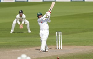 Yasir smashes a boundary off Broad.