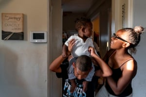 Tajaé Redden, 13, right, plays with her nephews Damontez Sharp, 9, and Lamarco Sharp Jr., 10 months, at their home in St. Louis on Thursday, Sept. 12, 2019. The family lives in north St. Louis, which has long been plagued by gun violence. At least 13 children have died of gunshot wounds in St. Louis city this year, and six children in St. Louis Country have been killed by gunfire.
