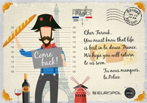 Europol's French-themed postcard to Farouk Hachi.