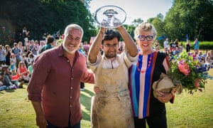 Rahul with judges Paul and Prue after winning the 2018 competition.