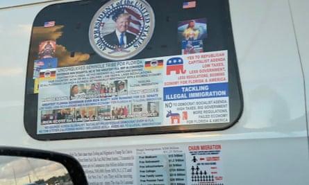 The rear window of the van