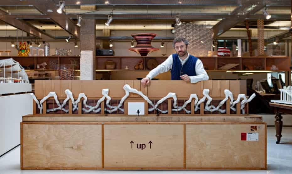 Thomas Heatherwick with the original store model for Harvey Nichols