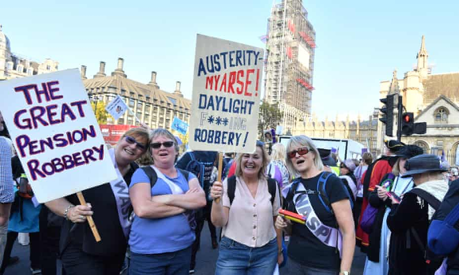 Protesters gather outside the Houses of Parliament to protest against changes to the state pension age for women.