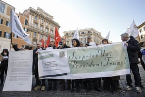 Rome People attend the initiative Surprise Us, President Trump, staged by Italian environmental associations