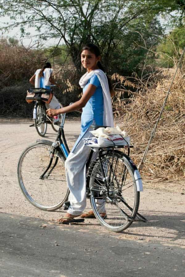 Indian girl on bicycle