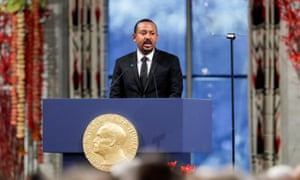 Nobel Peace Prize Laureate Ethiopian Prime Minister Abiy Ahmed Ali delivers his speech during the awarding ceremony in Oslo City Hall, Norway December 10, 2019.