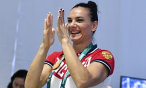 Yelena Isinbayeva, who was unable to defend her Olympic pole vault title due to the ban on Russian athletes, celebrates being voted on to the IOC athletes commission.