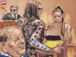Harvey Weinstein watches as witness Jessica Mann is questioned by Donna Rotunno in front of Judge James Burke during Weinstein's sexual assault trial at New York criminal court in New York on 3 February.