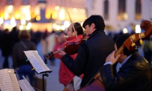 Musicians playing in the Munich's central Marienplatz.