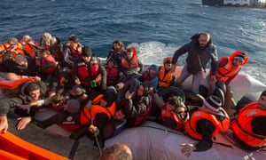 The boat on which 15-year-old Mohamed Hajy was hoping to travel to Greece. It started to deflate and the 40 refugees on board had to be rescued.