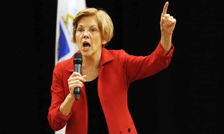 Elizabeth Warren addresses a town hall in Boston.