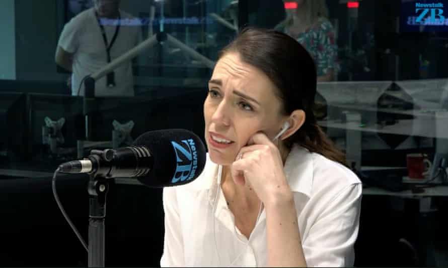 New Zealand's prime miniester, Jacinda Ardern, in Newstalk ZB's broadcasting studio