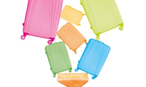 Photo montage of coloured suitcases and cheese sandwich
