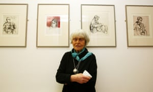 Milein Cosman at the opening of her exhibition in west London in 2008. From left are pictures of Thomas Mann, Francis Bacon, Henry Moore and Jean Cocteau.