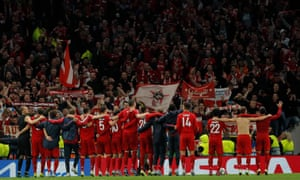 Bayern players celebrate a fantastic victory with their fans.