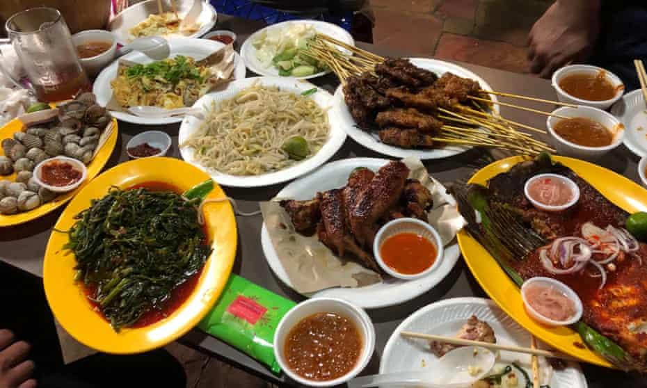 Street food feast at the East Coast Lagoon Food Village, Singapore.
