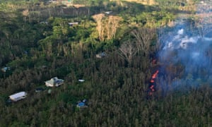 Lava in the Leilani Estates area. Up to 10,000 people have been ordered to leave their homes