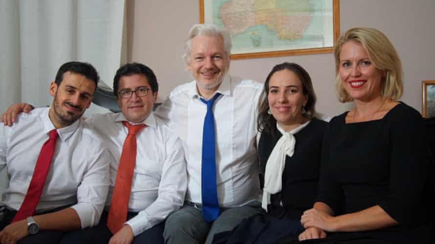 Spanish counsel Aitor Martinez, Ecuadorian counsel Carlos Poveda, Assange, Moris, and barrister Jennifer Robinson