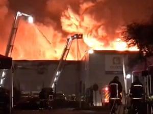 The warehouse fire Ocado in February, Twitter user @lottielouises.