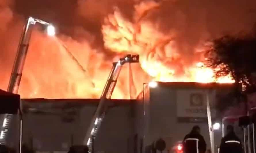 The fire that at Ocado's robotic warehouse in Andover, Hampshire