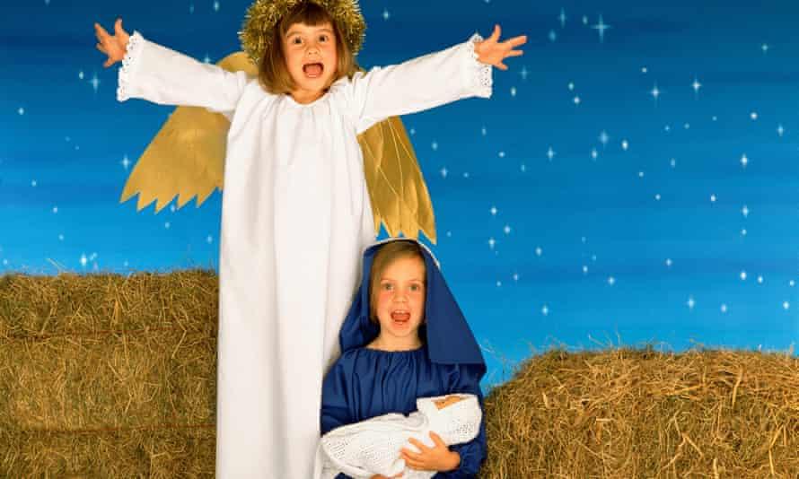 Schoolchildren in a Nativity scene.