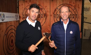 Padraig Harrington and Steve Stricker after an axe-throwing competition at Whistling Straits in October 2019