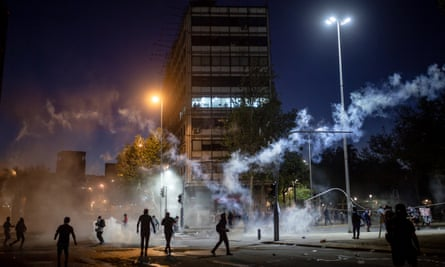 Protests against police brutality continue in Santiago, Chile on 9 October 2020.