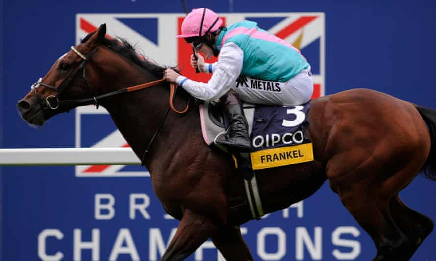 Frankel, widely considered the greatest horse in British Flat racing history, wins his final race at Champions Day in 2012.