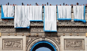 Paris: The Arc de Triomphe enveloped by a shimmering wrapper in a posthumous installation by artist ChristoWorkers