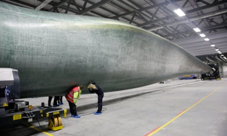 Quality control checks on a wind turbine blade at Siemens factory in Hull.