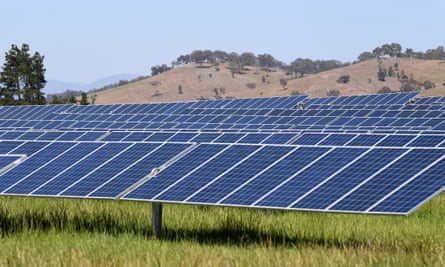 A general view of Mount Majura Solar farm in Canberra, Wednesday, October 18, 2017. (AAP Image/Lukas Coch) NO ARCHIVING