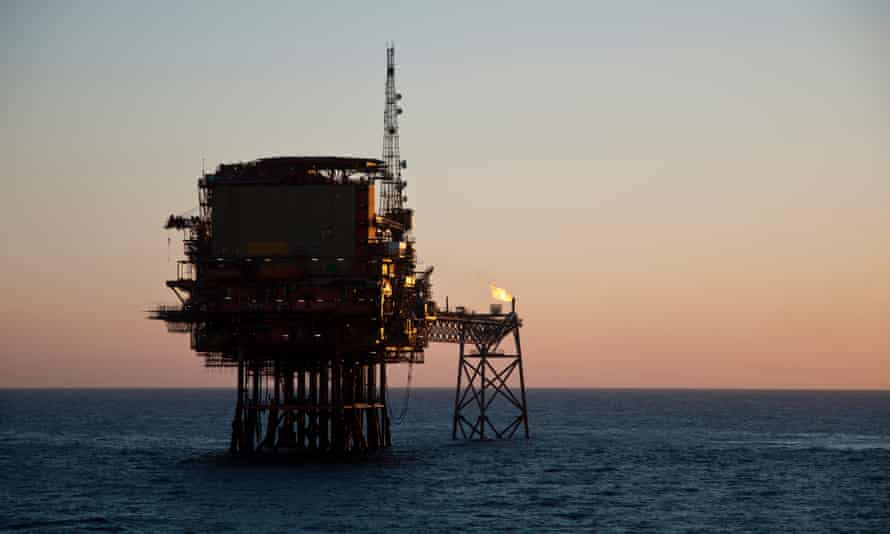An offshore oil production platform in North Sea.