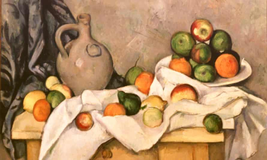 Still Life with Curtain, Pitcher and Bowl of Fruit by Paul Cézanne.