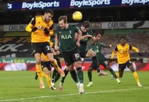 Wolverhampton Wanderers' Romain Saiss scores their first goal.