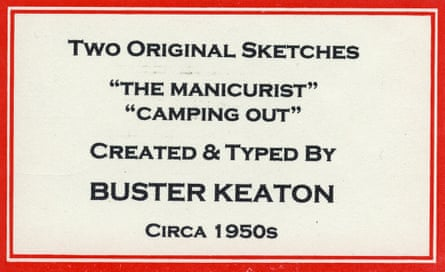 Two unpublished comedy sketches by Buster Keaton written for television in the 1950s, but never produced. Each one is about two pages long and typed, apparently by Keaton himself.