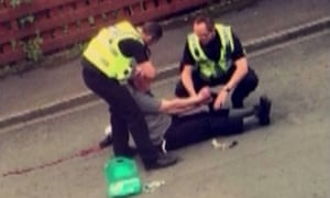 Mobile phone footage shows police detaining Thomas Mair after the murder