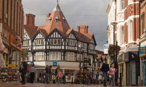 Wrexham town centre in north Wales.