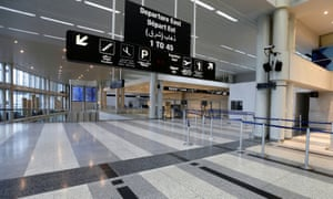 A view of an empty hall at Beirut's international airport as Lebanon temporarily shuts down the airport, after declaring a medical state of emergency.