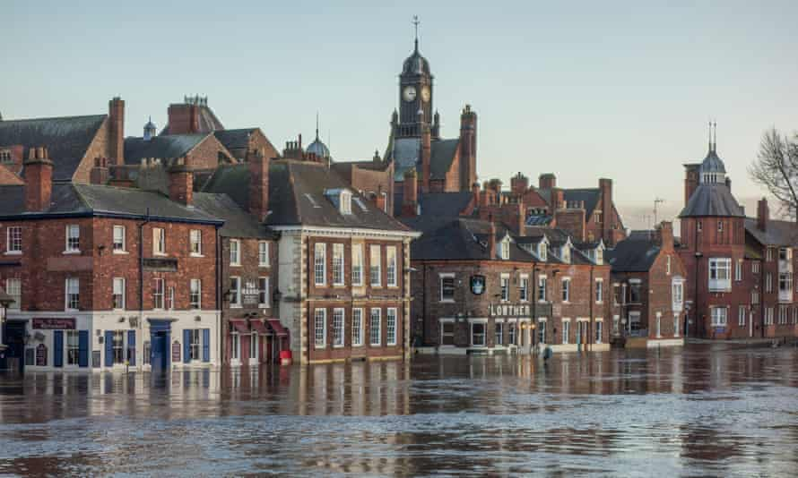 River Ouse in flood at the King's Staith area in York
